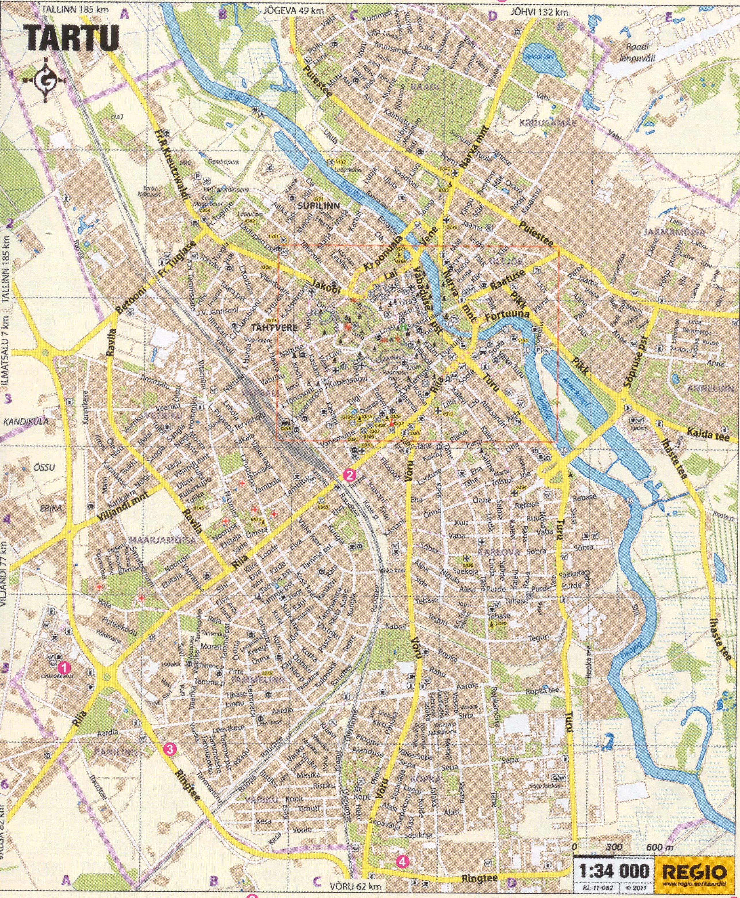 Подробная карта Тарту с названиями улиц
