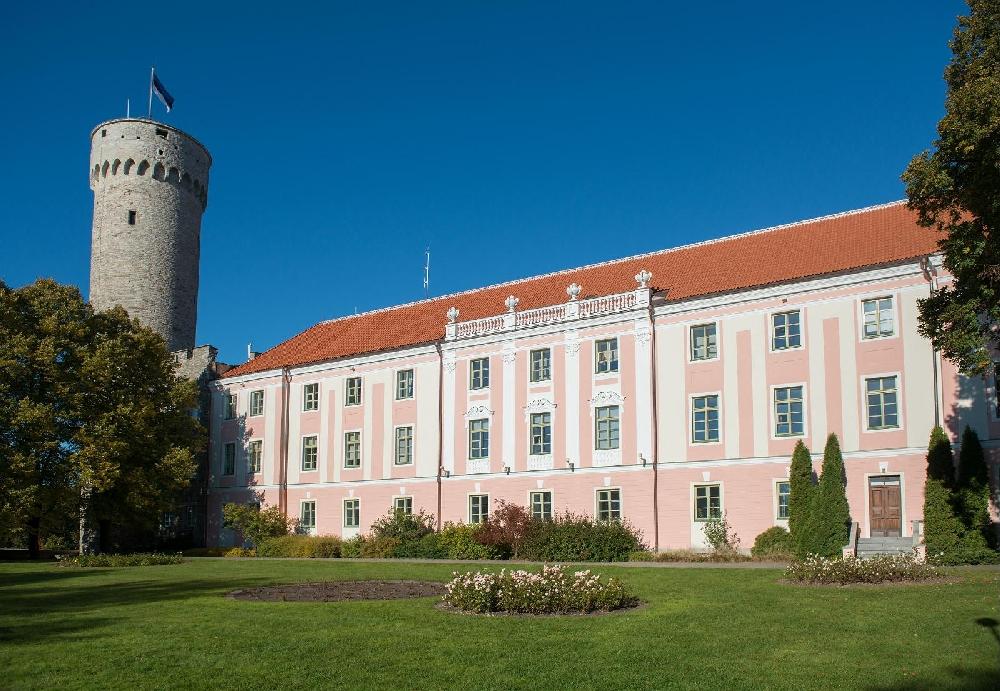 Панорамный вид: замок Тоомпеаа и башня длинный Герман