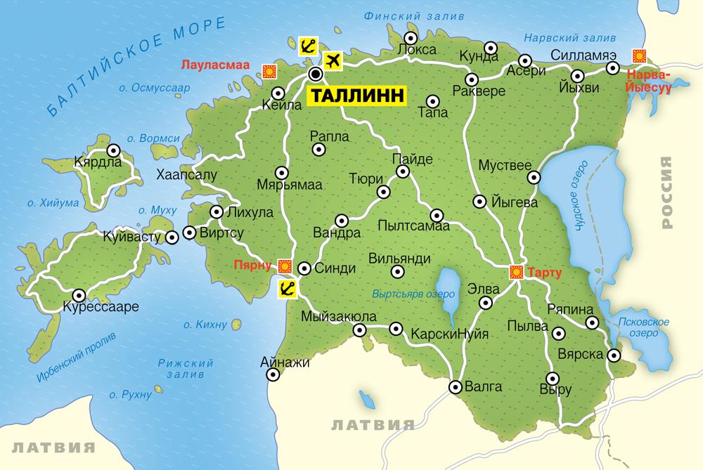 Карта Эстонии с городами на русском языке