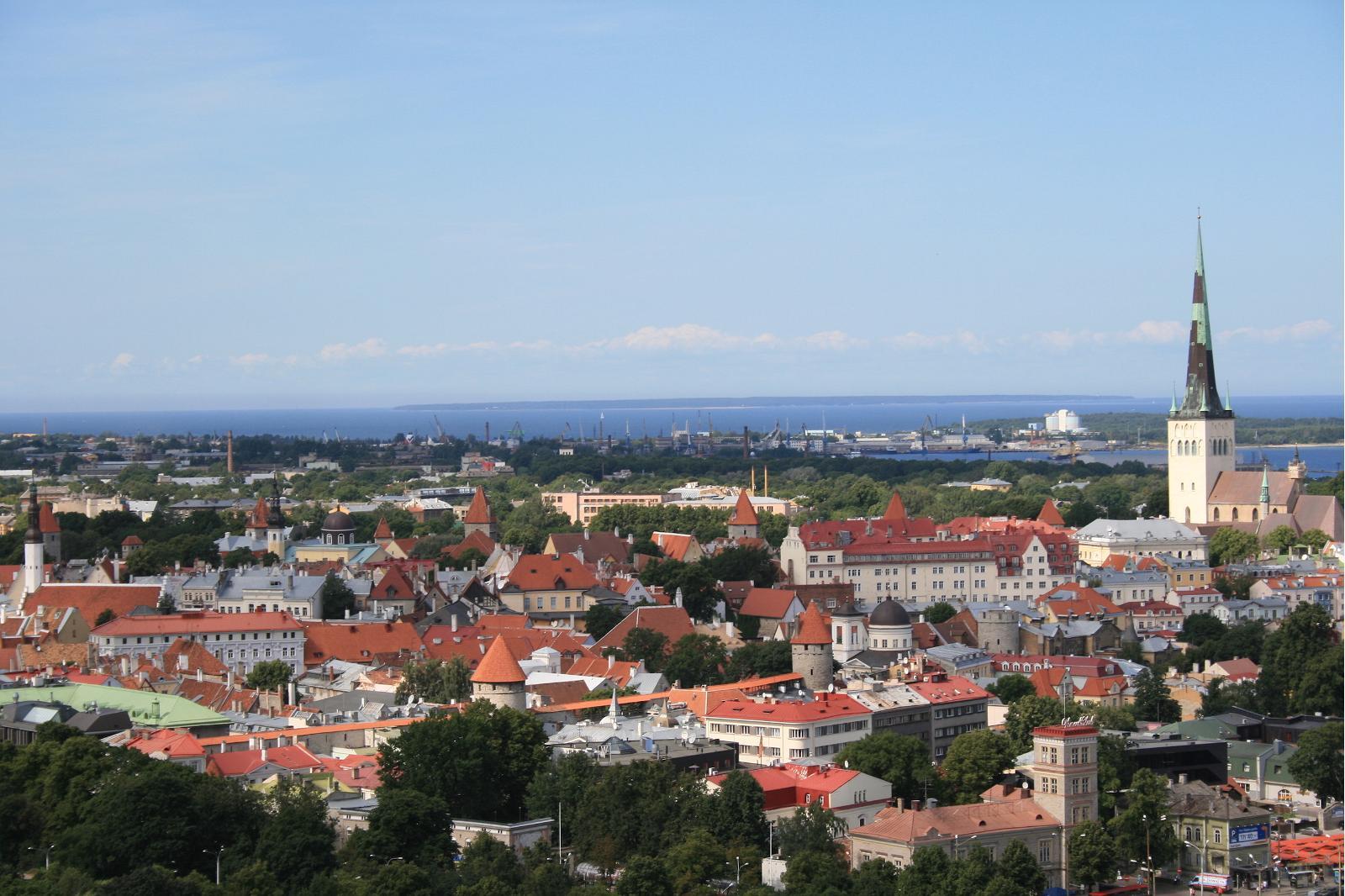 Панорамный вид на церковь Олевисте в Таллине
