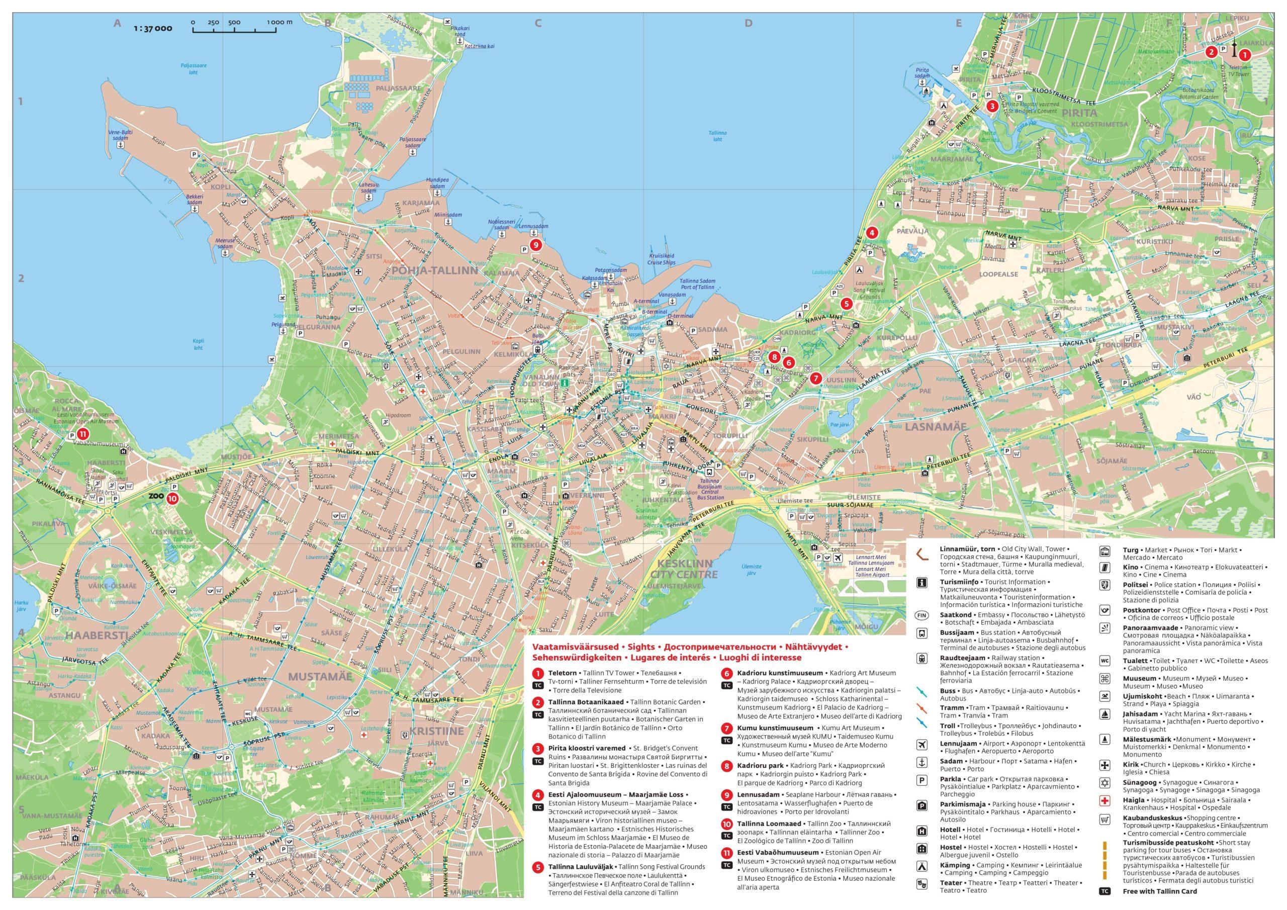 Карта с достопримечательностями Таллина
