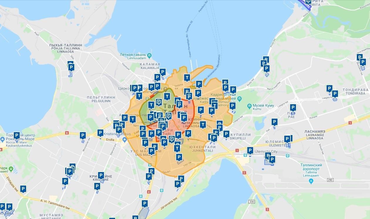Карта парковок Таллина
