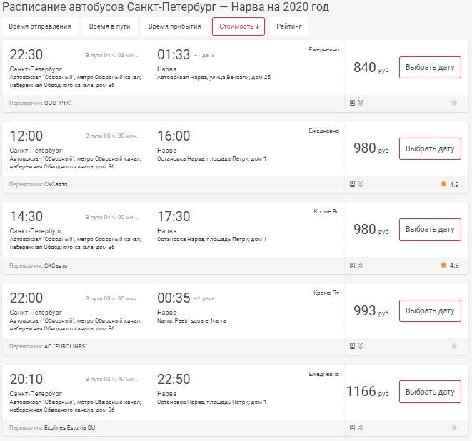 Расписание автобуса СПб – Нарва
