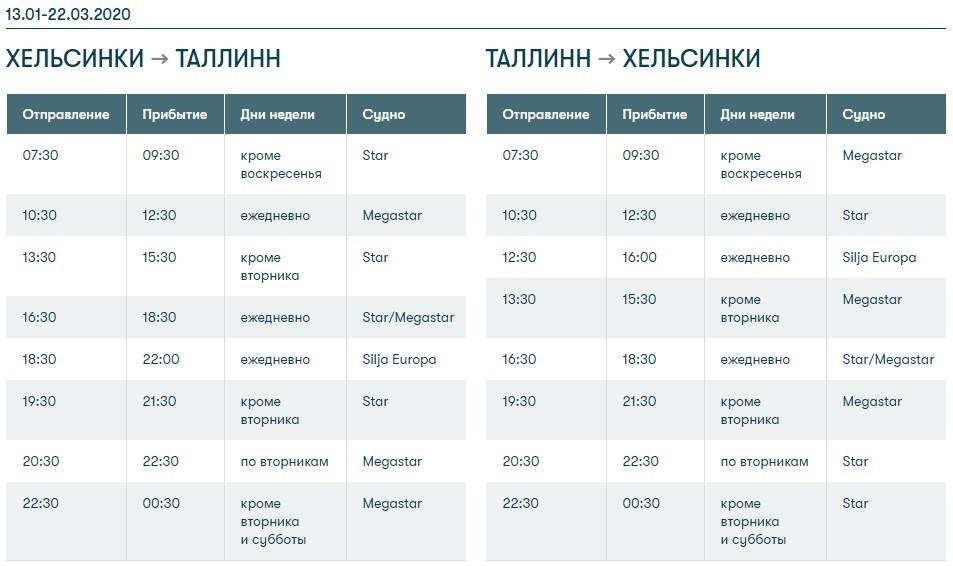 Расписание паромов компании Tallink Silja Line