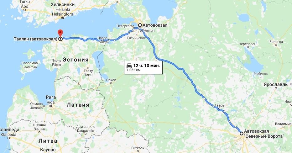 Расстояние Москва– Таллин