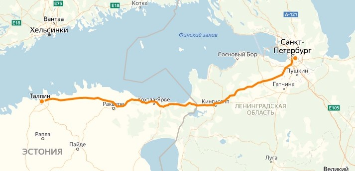 Расстояние Таллин– Санкт-Петербург на автобусе