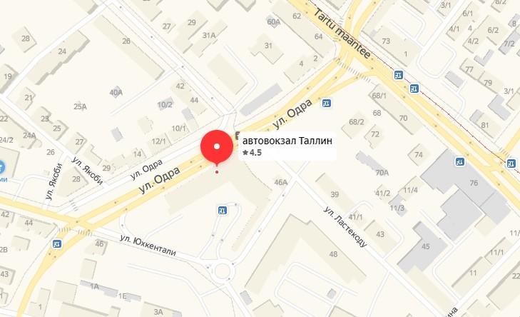 карта таллинского автовокзала