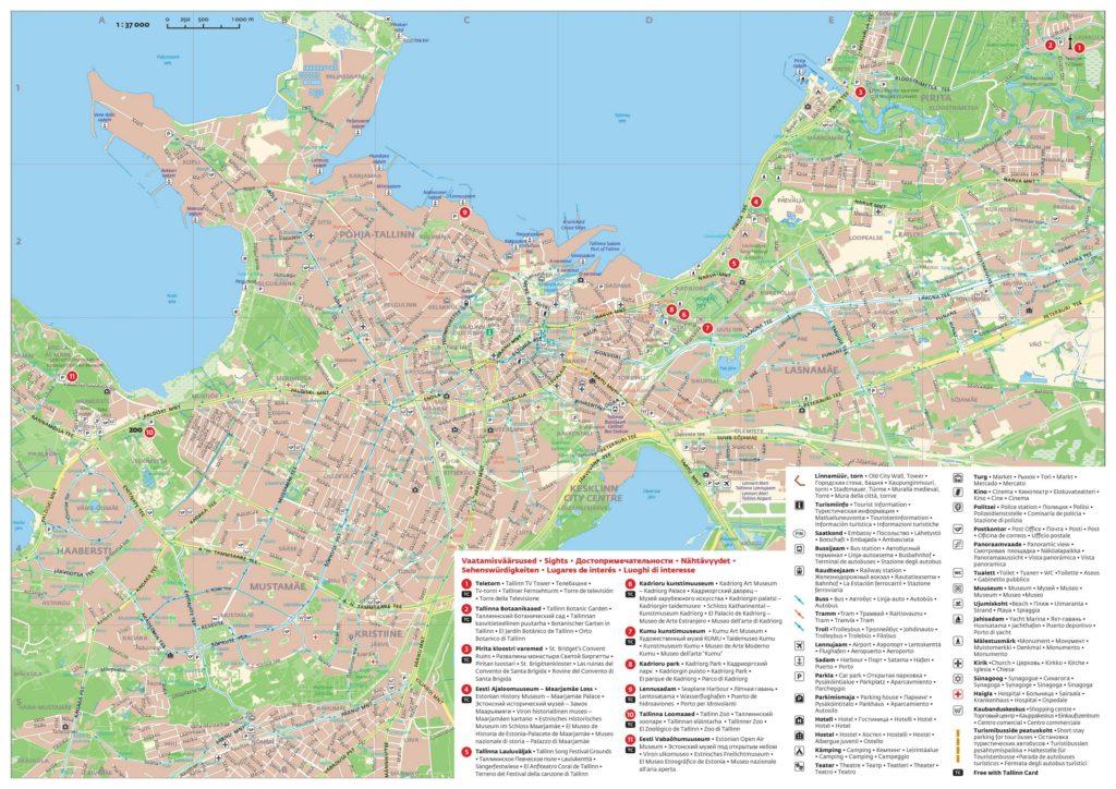 Карта Таллина на русском языке для туристов с достопримечательностями