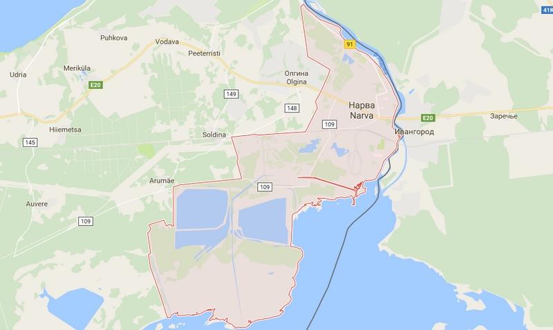 Подробная карта Нарвы на русском языке