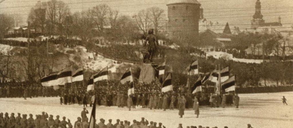 Празднование первой годовщины Дня независимости на Площади Свободы в Таллине в 1919 году.
