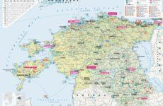 Подробная карта Эстонии с городами и автомобильными дорогами