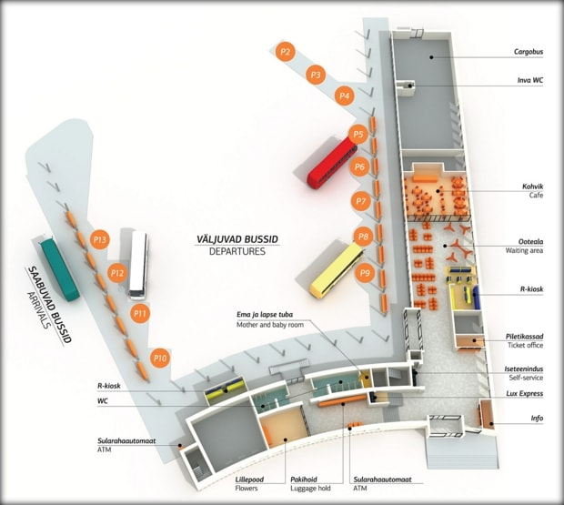 Схема автобусного вокзала в Таллине