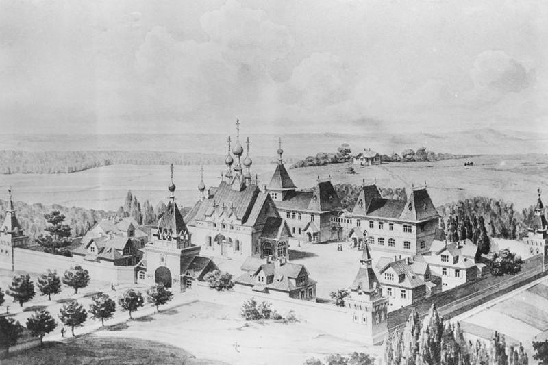 Вид Пюхтицкой обители по проекту М.Т. Преображенского, 1892 год