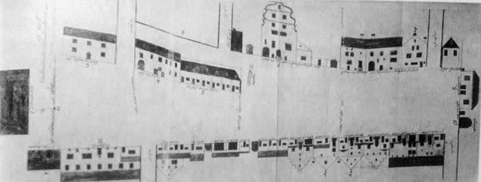 Схематичная зарисовка Тартуской площади из Королевского архива