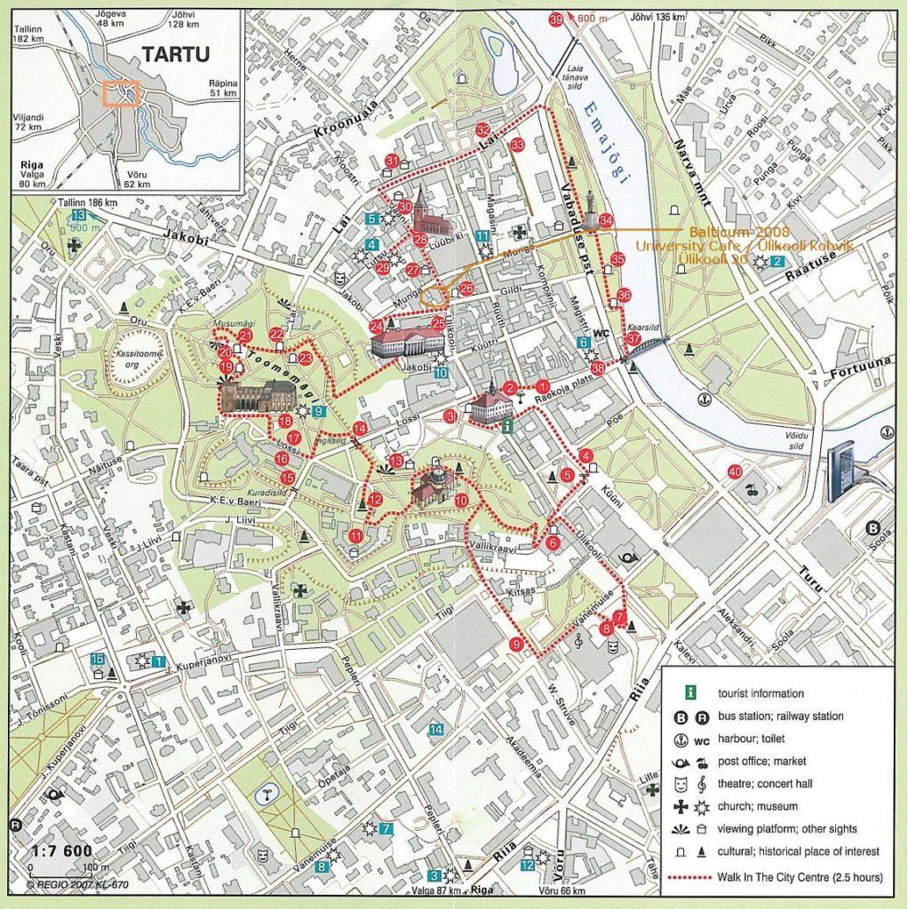 Карта Старого города Тарту