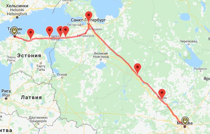 За время пути поезд совершает 8 остановок. Самая длительная на границе, в Ивангороде Нарвском, длится 1 час. В Санкт-Петербурге поезд задержится на 46 минут, а в Нарве – на 45 минут. Иногда поезд делает технические остановки на станциях Саблино и Санкт-Петербург товарный Витебский. В обратном направлении поезд едет по тому же маршруту, но делает больше остановок на станциях: Таллин Пасс. (Эстония) – Тапа (Эстония) – Йыхви (Эстония) – Нарва (Эстония) – Ивангород Нарвский – Кингисепп – Санкт-Петербург-Главн. – Окуловка – Бологое-Московское – Тверь – Москва Октябрьская.