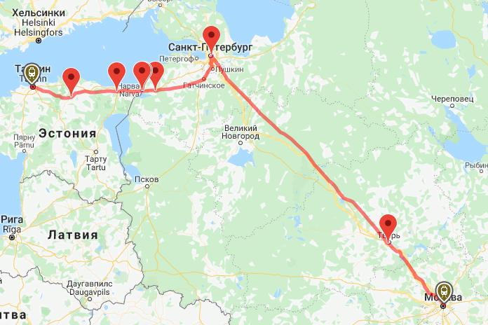 Маршрут поезда на карте